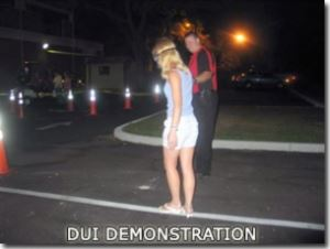DUI Demonstration - Girl walking on line