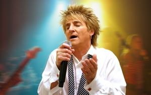 Rob Caudill's singing on stage as Rod Stewart