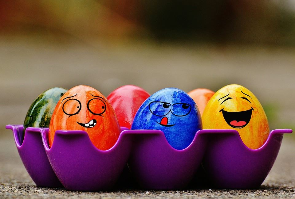 Funny Easter Eggs with Smiles and Winky Faces