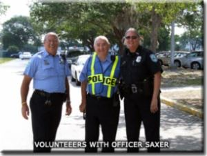 Volunteers with Officer Saxer