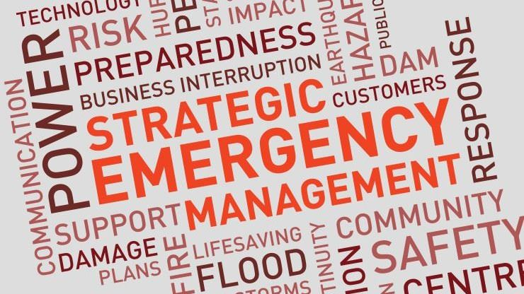 Strategic emergency management headline with lots of words relating to emergencies surrounding the h