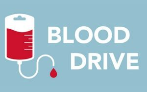Blue Background with white letters saying Blood Drive