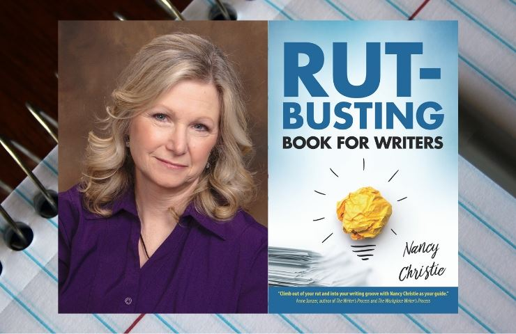 Image of a white female with blonde hair in a purple suit next to the book cover for &#34Rut-Busting
