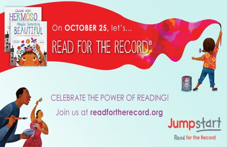 Read for the Record Celebrate Power of Reading Child with paintbrush red paint ribbon JumpStart