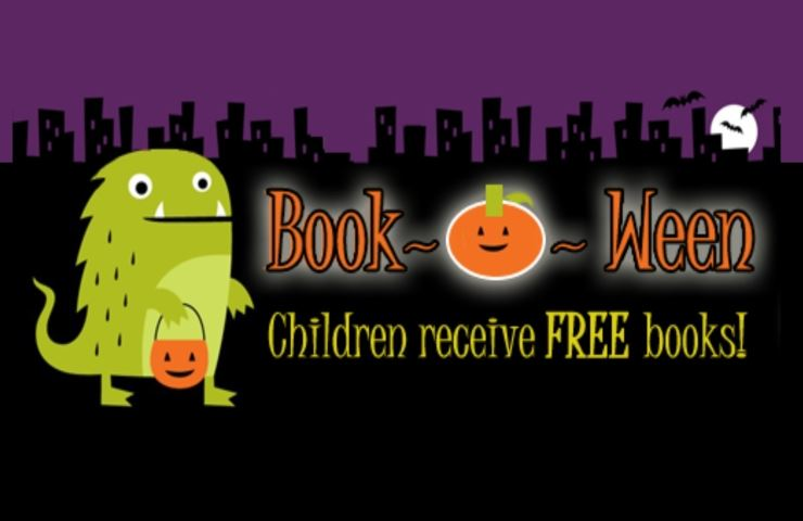 Book-O-Ween Children receive free books Monster with trick or treat pumpkin bucket moon bats