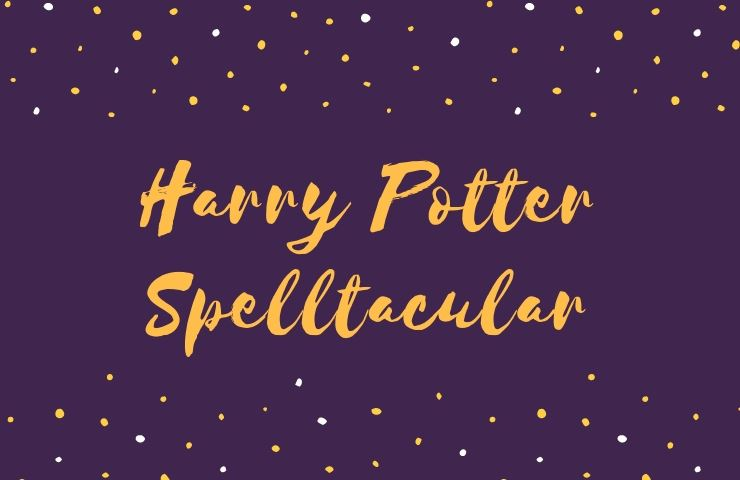 Harry Potter Spelltacular script with yellow stars on purple background