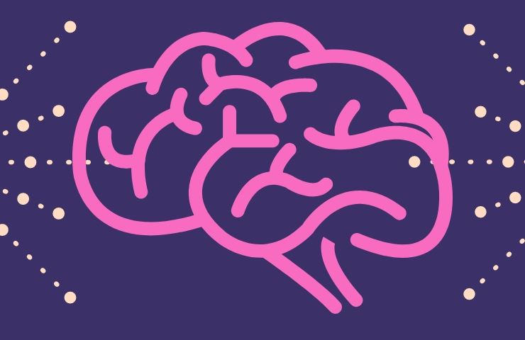Wire-frame brain on a purple background