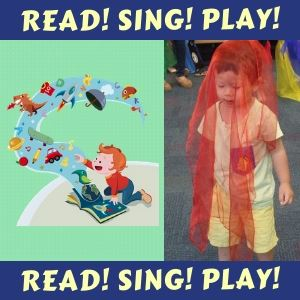 Read Sing Play Toddler with scarf over head