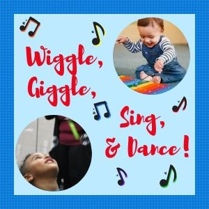 Wiggle, Giggle, Sing, and Dance Child playing xylophone child playing with bubbles
