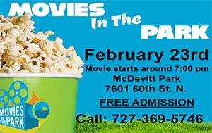 Movies In The Park Saturday February 23rd 7pm @ McDevitt Park