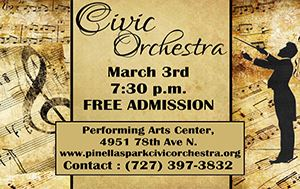 Pinellas Park Civic Orchestra Concert @ Performing Arts Center Mar. 3rd, 7:30pm