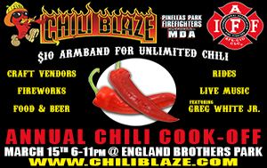 Chili Blaze Cook-off March 15th @ England Brothers Park