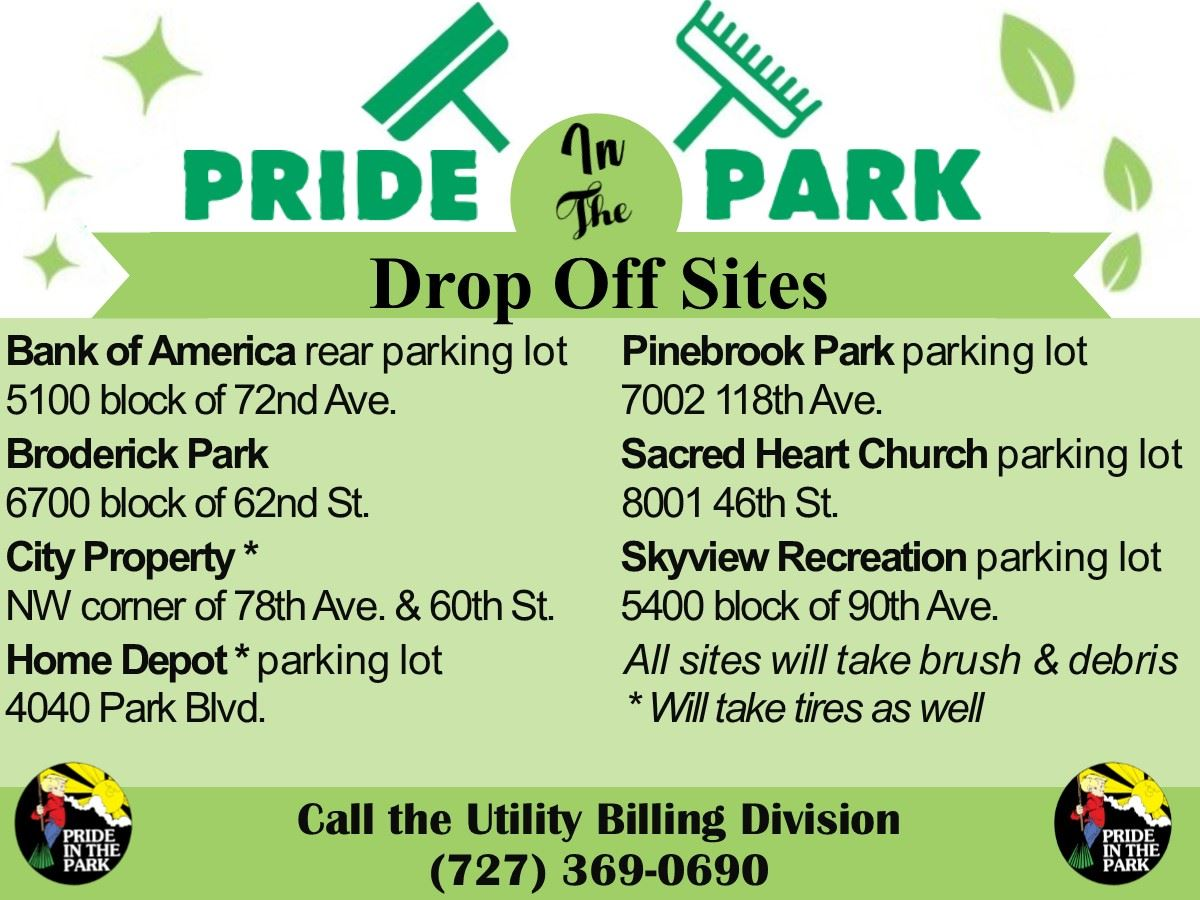 Pride in the Park Spring Cleanup Drop-Off Sites March 9th