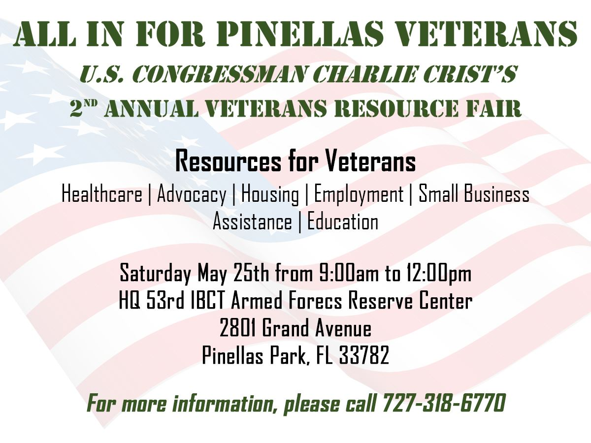 Veterans Resource Fair May 25th @ 2801 Grand Ave Pinellas Park FL