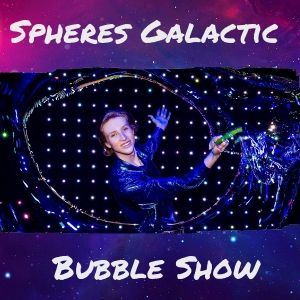 Spheres Galactic Bubble Show young man with giant bubble