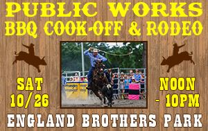 Public Works BBQ Cook-Off & Rodeo @ England Brothers Park October 26th @ Noon