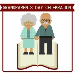 Grandparents Day Celebration 2 grandparents on an open book