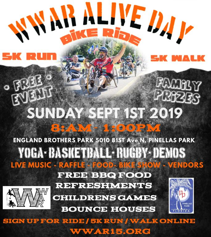 Wounded Warriors Abilities Ranch Alive Day Bike Ride Sept 1st @ 9am