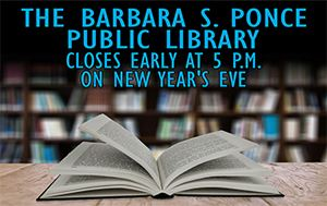 Public Library closes at 5:00pm on New Year's Eve