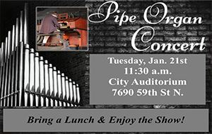 Free Pipe Organ Concert January 21st @ The City Auditorium