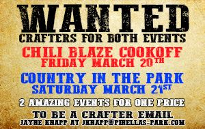 Crafters Wanted for Country In The Park & Chili Blaze Cook-Off