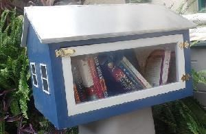 Image of blue house shaped box with books inside.
