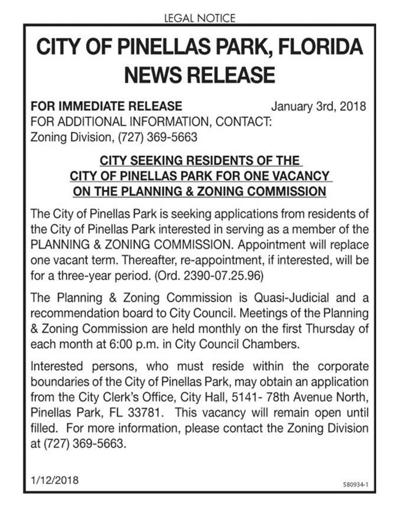 CITY OF PINELLAS PARK NEWS RELEASE_VACANCY ON P&Z BOARD