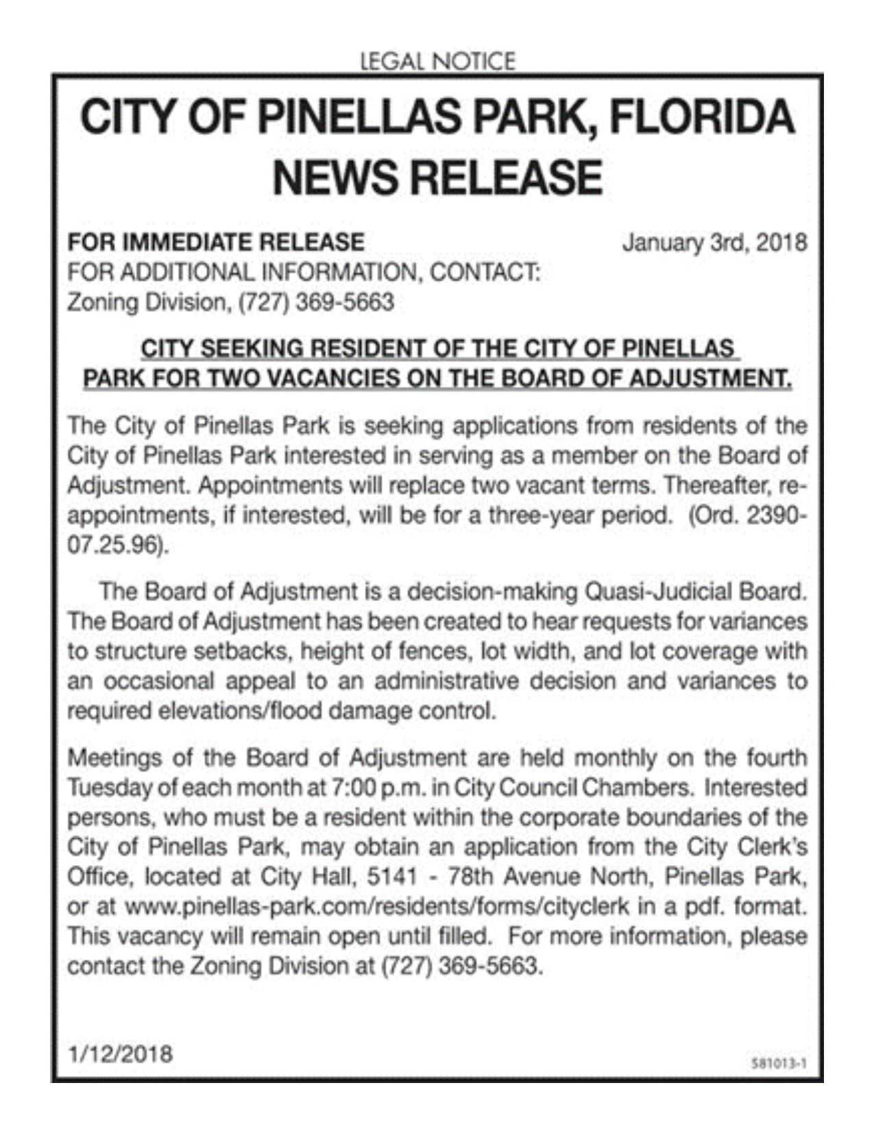 CITY OF PINELLAS PARK NEWS RELEASE_VACANCY ON BOA BARD