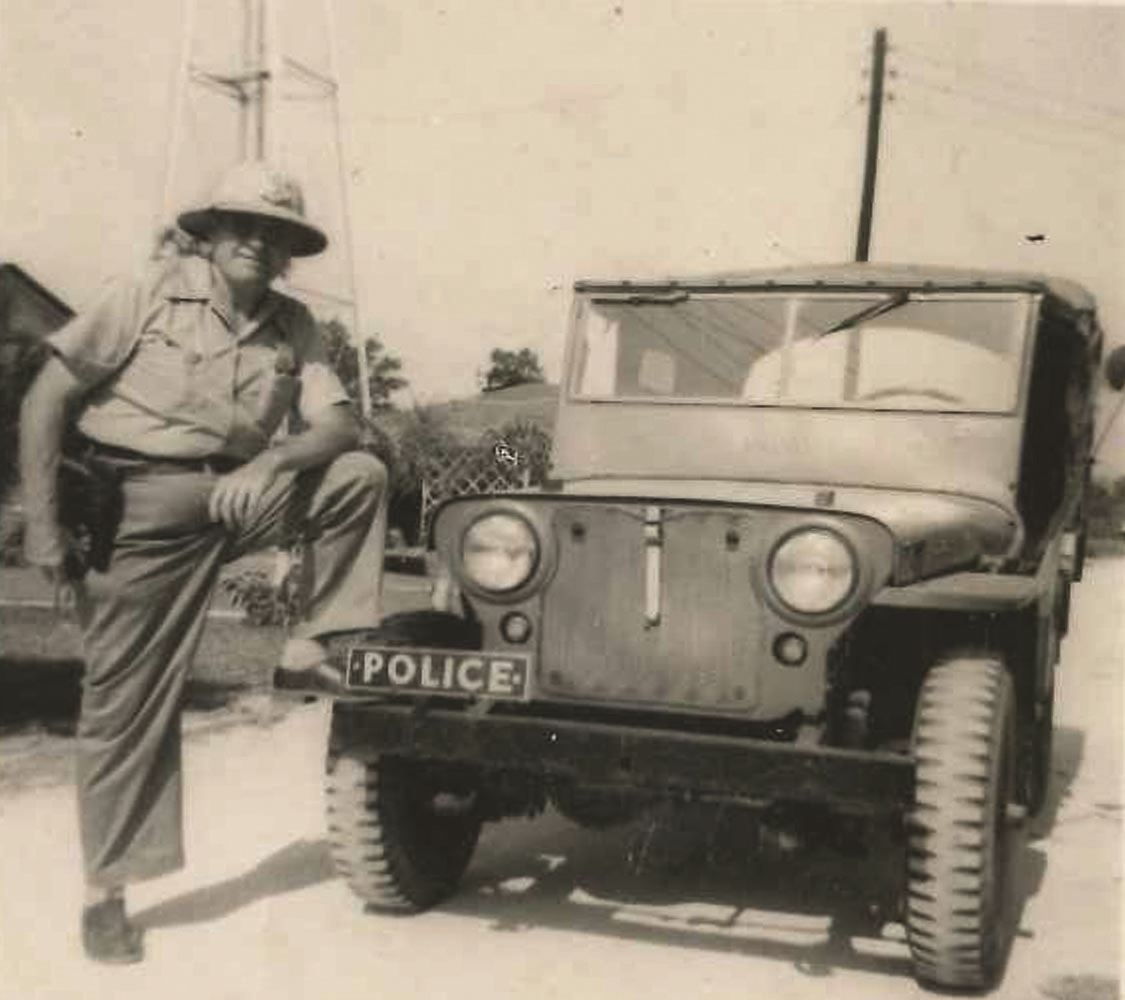 Jim Barrett with Police Jeep PD Unknown date