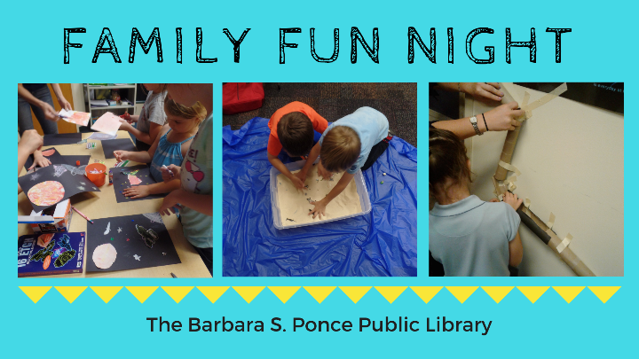 Family Fun Night children doing different activities and reading