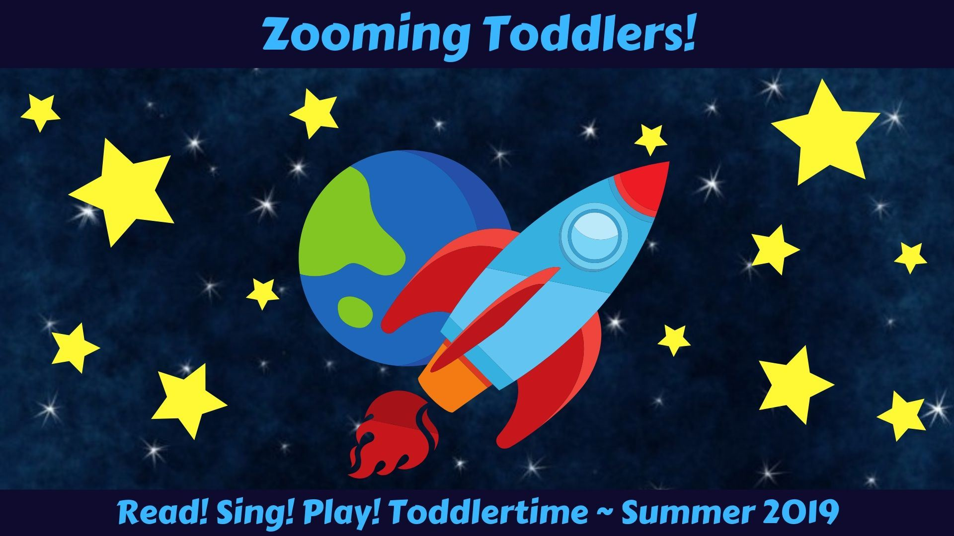 Zooming Toddlers!  with rocket and earth