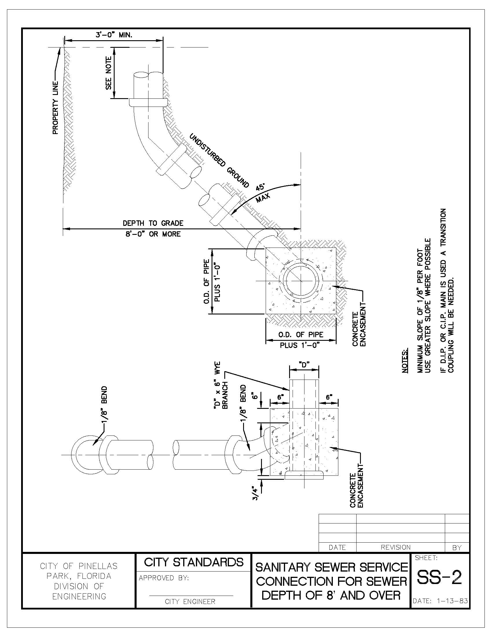 "Engineering Manual v5_201908121127291138_Page_066 sanitary sewer service connection for sewer depth of 8"" and over"